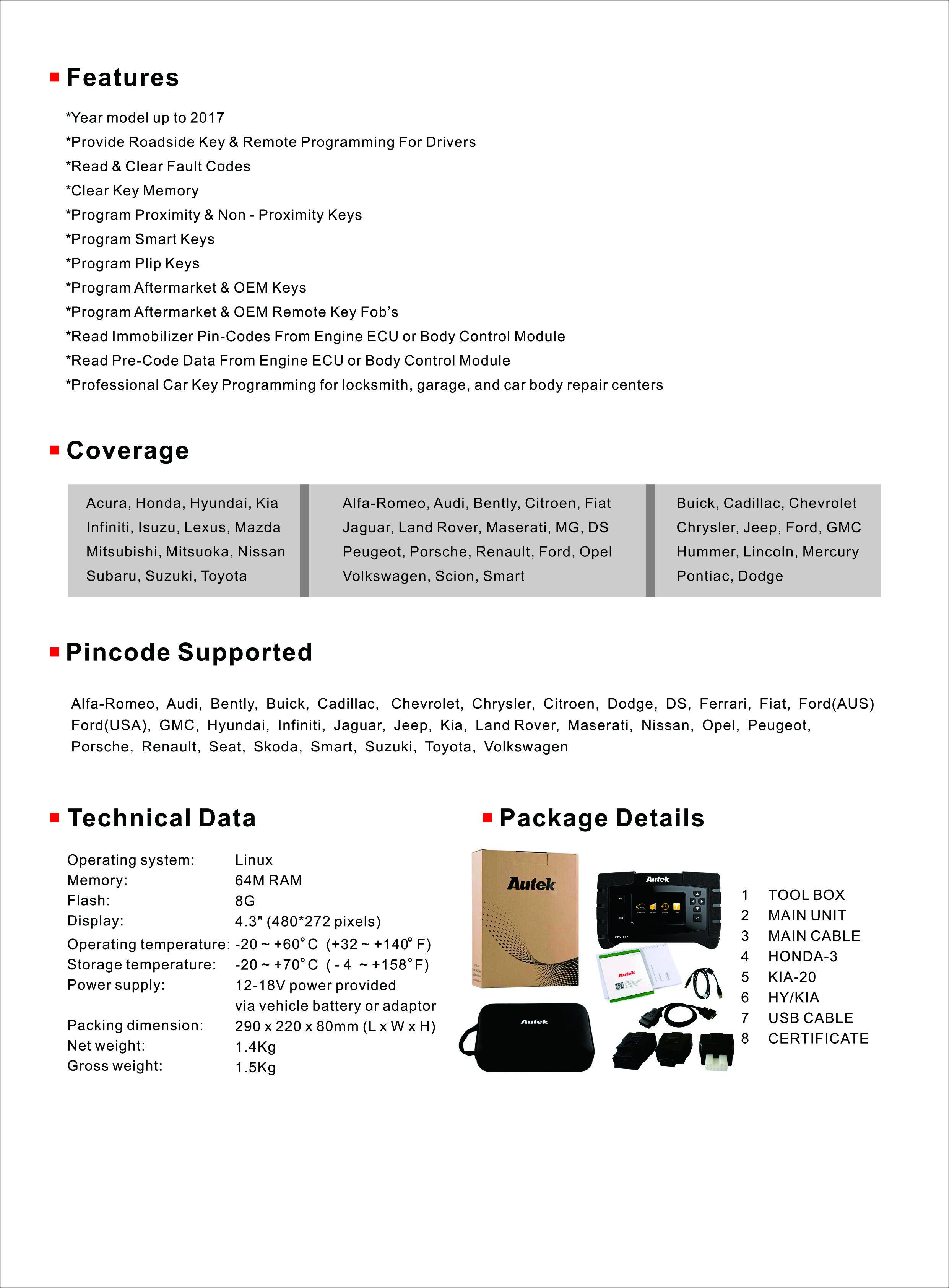 Autek IKey820 Key Programmer - Original Brand Tool - Autol